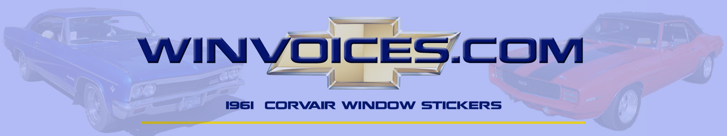 1961 Corvair Window Sticker Options